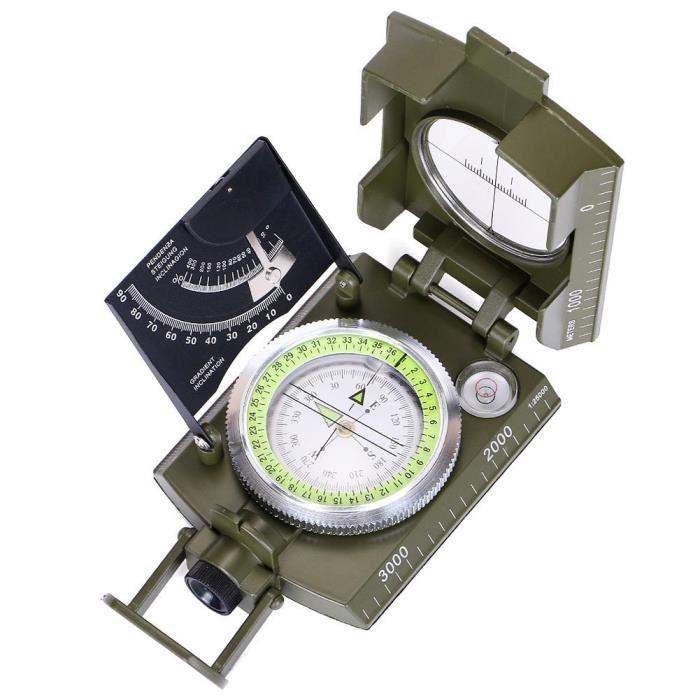 Boussole de visée militaire Clinomètre Camping randonnée Professionnel