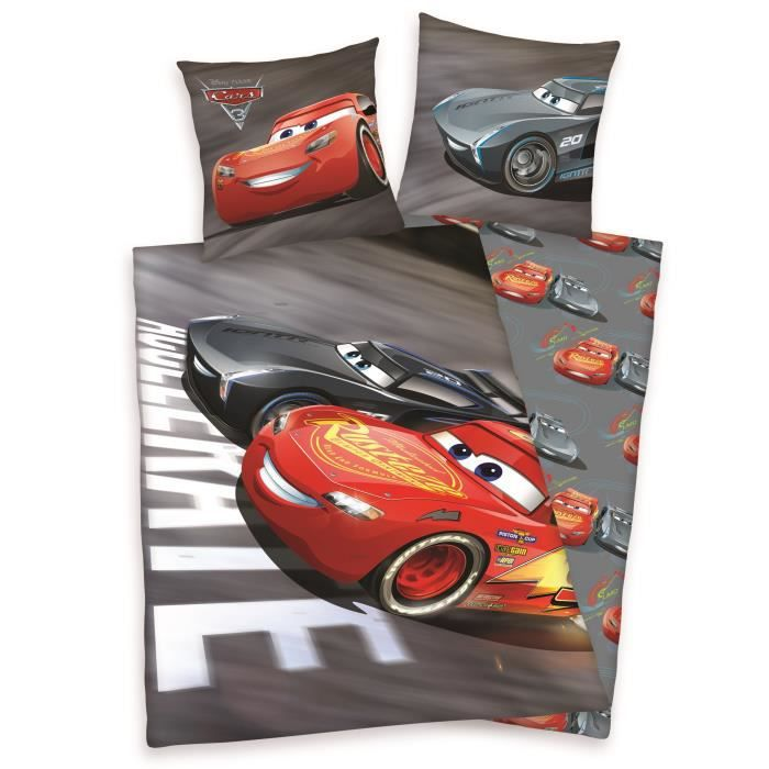cars 3 parure de couette 100 coton 1 housse de couette. Black Bedroom Furniture Sets. Home Design Ideas