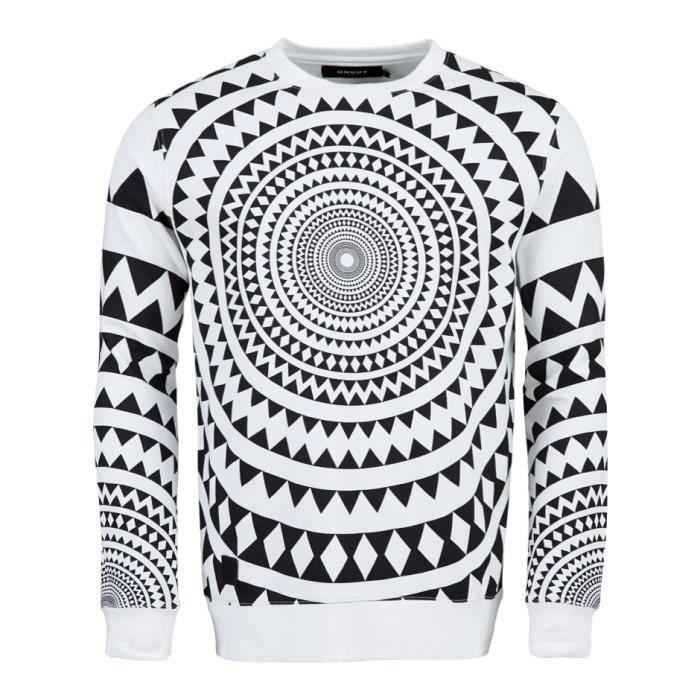 UNKUT Sweat Circle Homme Blanc et noir -