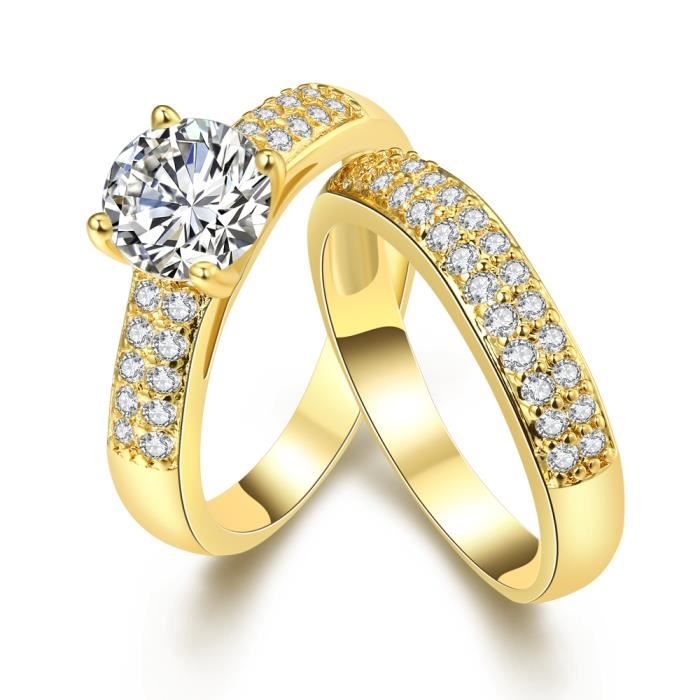 2 pi ces luxe mariage de mari e bague solide 18k jaune plaqu or femmes bague bijoux yellow. Black Bedroom Furniture Sets. Home Design Ideas