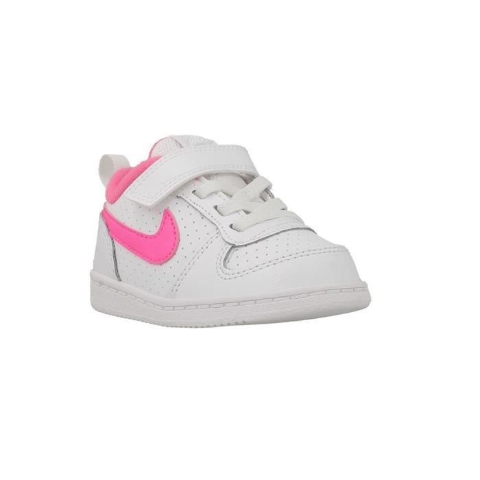 NIKE Baskets Court Borough Low - Bébé Fille - Blanc et rose