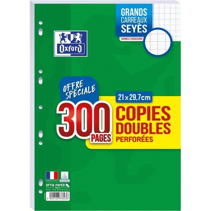 OXFORD - Copies doubles perforées 300 pages seyès - 90g
