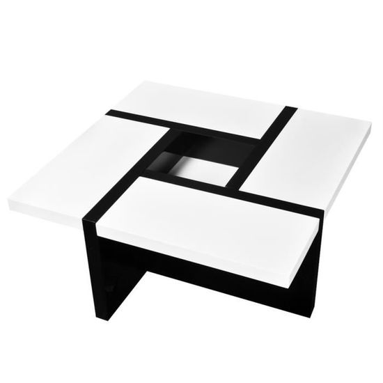 Table Basse De Cafe Salon Bureau Chambre Coloris Blanc Noir Brillant