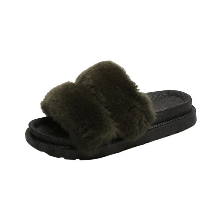 Flat Flip Faux YSZ70928497 Fluffy Fourrure Slipper Plate forme Sandale 1001 Chaussures Flop Med Femmes IwUqCan