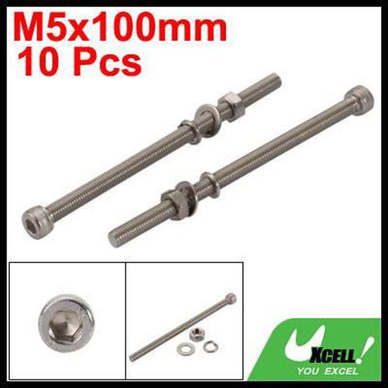 sourcing map 20PCS M5x50mm acier inox 304 vis t/ête molet/ée /écrou boulon avec rondelle