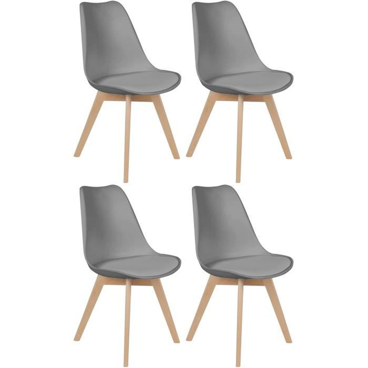 ensemble lot de 4 chaise scandinave coque polypropyl ne avec coussin gris argent achat. Black Bedroom Furniture Sets. Home Design Ideas