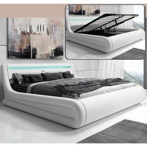 STRUCTURE DE LIT Lit coffre design Rodas – blanc (180x200cm)