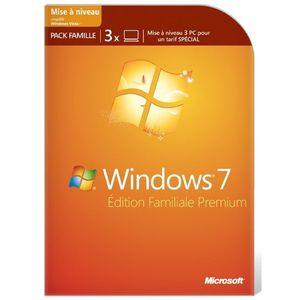 SYSTÈME D'EXPLOITATION Windows 7 Edition Familiale Premium Pack 3 licence