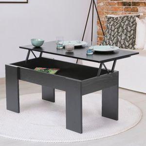 TABLE BASSE Table basse avec plateau relevable bois noir