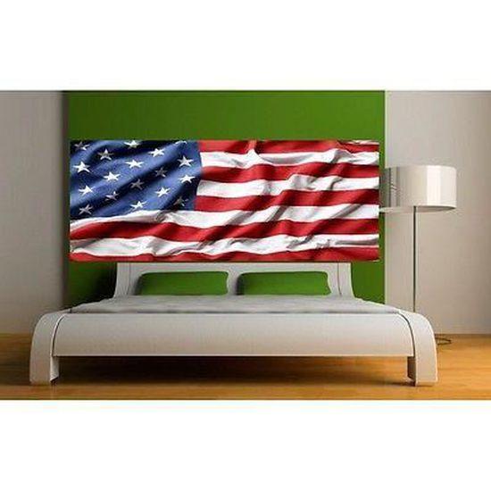 5 dimensions Sticker tête de lit décoration murale drapeau Américain 3690
