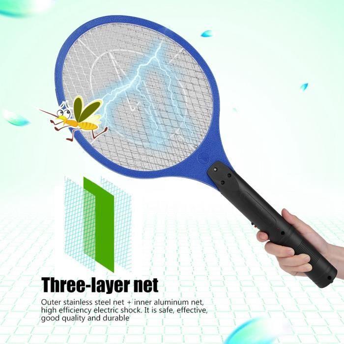 Mouche électrique sans fil rechargeable moustique tapette insecte raquette Zapper insectes tueur bleu-SEC
