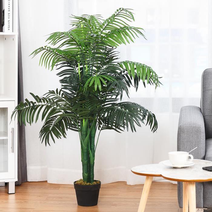 Plante Artificielle Déco. Interieur Palmier Aréca avec Pot Vert Arbre/ Fleur Artificielle pour Décoration Extérieur - H 110 cm