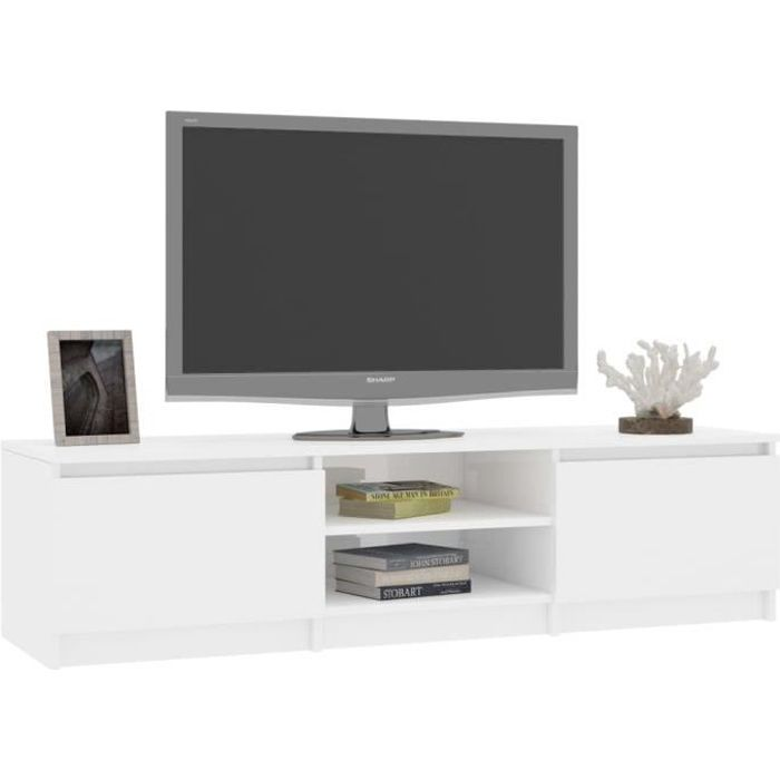 YAJ Meuble TV, Blanc brillant 140 cm Aggloméré☼1