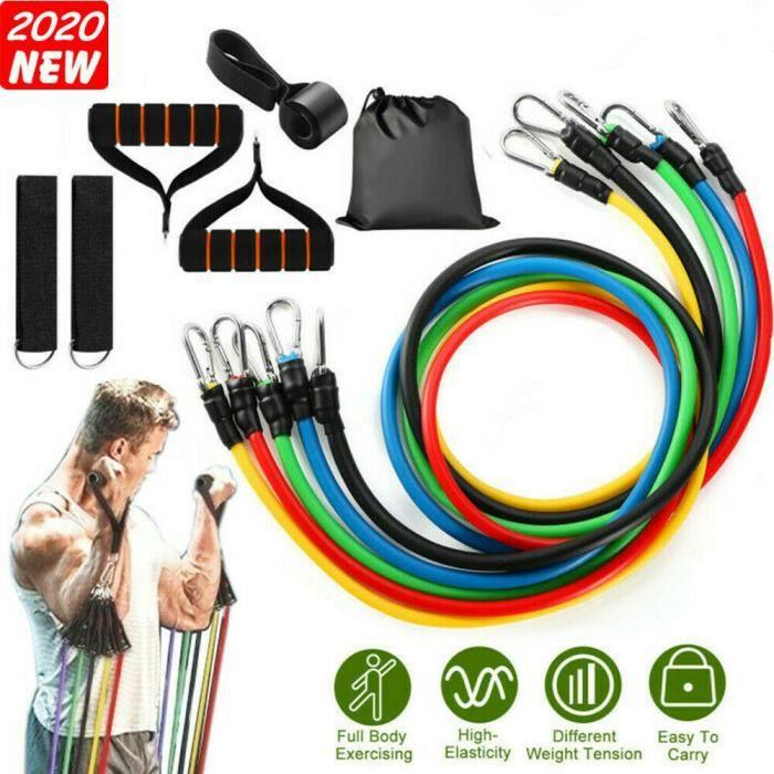 Bandes de Résistance Set Elastiques, Artizlee Kit de 11 Accessoires Musculation-Bandes de Fitness Exercice Elastiques Yoga Maison
