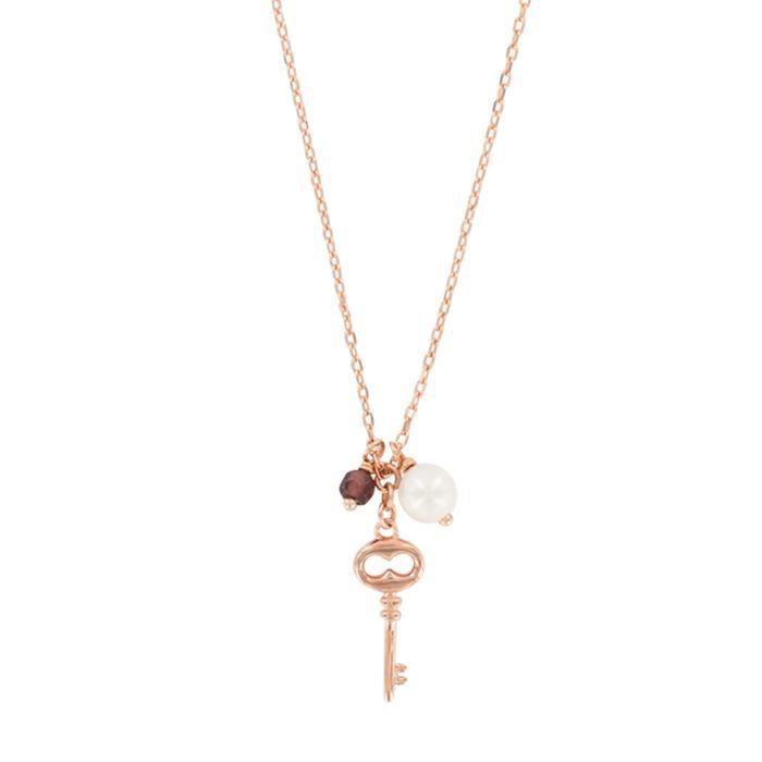Jouailla - Collier - Argent 925-1000 - Doré rose - Perle de nacre et cristal teinté - Motif clé