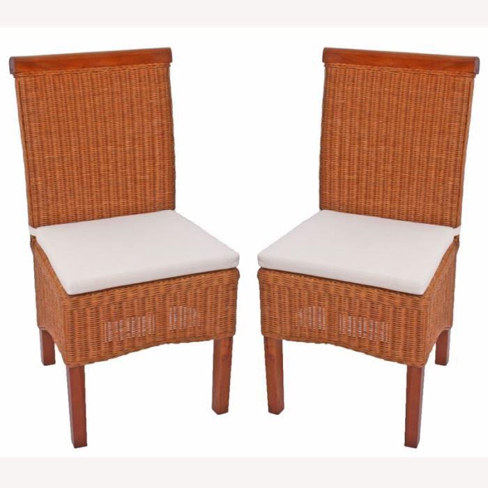 2x chaises rotin tressé avec coussins