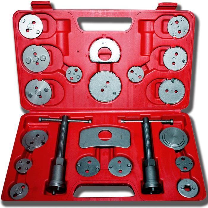 Kit de Réparation pour Repousse Piston, Set d'Outils pour Étrier de Frein, 21 pièces, avec une mallette rouge, Matériau: Acier C45