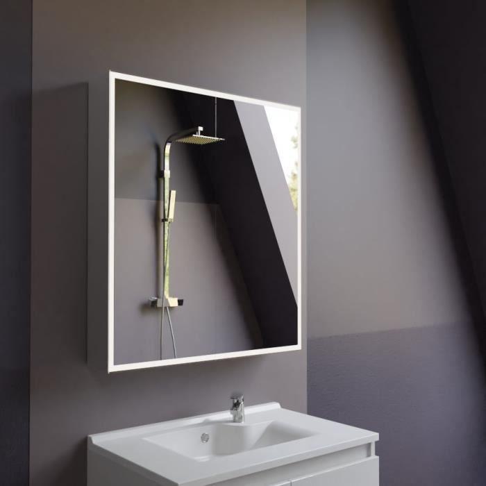 Miroir armoirette LED rétro-éclairé avec prise et interrupteur ARMILED - 70 cm
