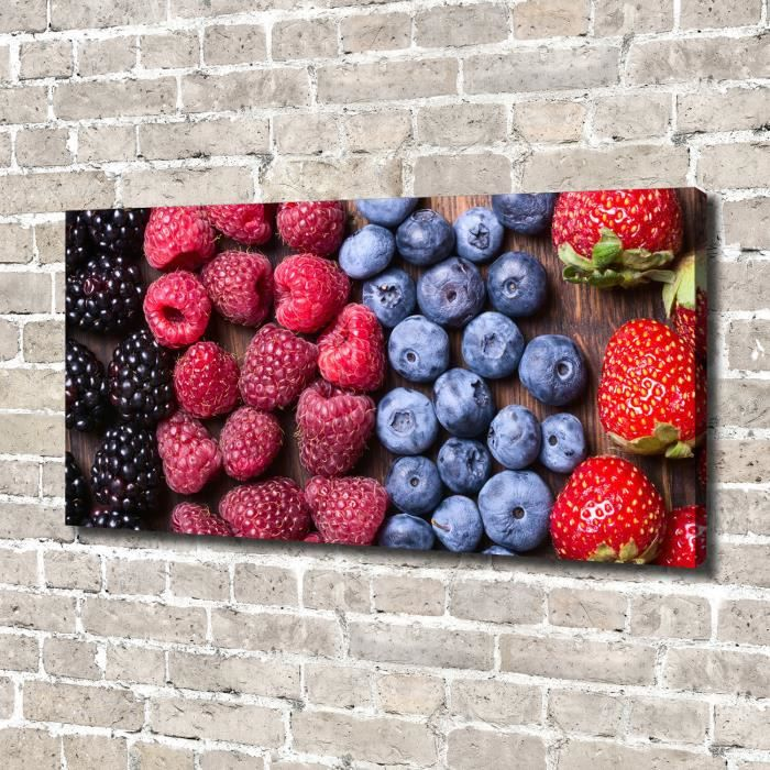 Tulup 140x70 cm art mural - Image sur toile:- Nourriture boissons - Fruits De La Forêt - Multicolore Gris