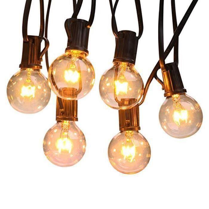 Guirlande Lumineuse Guirlande Guinguette Lumineuses Boules 25LEDs G40 Ampoules Blanc Chaud Globe Boule de Lumière Décoration Ma34481