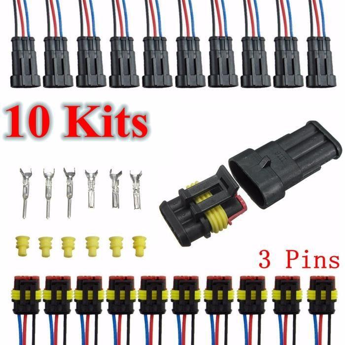10 Kits Connecteur Prise Imperméable Etanche 3Pins Canaux Pour Voiture Bateau