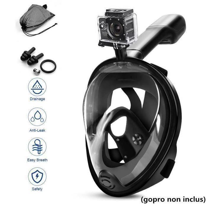 Snorkel Masque Avec Fixation Pour Caméra GoPro, Masque Snorkeling Plein Visage 180° Antibuée et Antifuite (S-M)