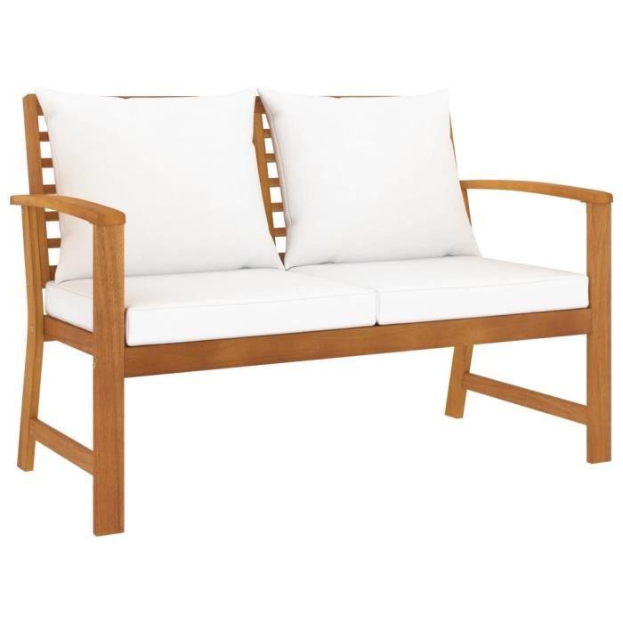 HOME®Haute qualité- Banc de Jardin 2-3 Places - Style Contemporain Banquette Extérieur - avec coussin crème 120 cm Bois solid��3591
