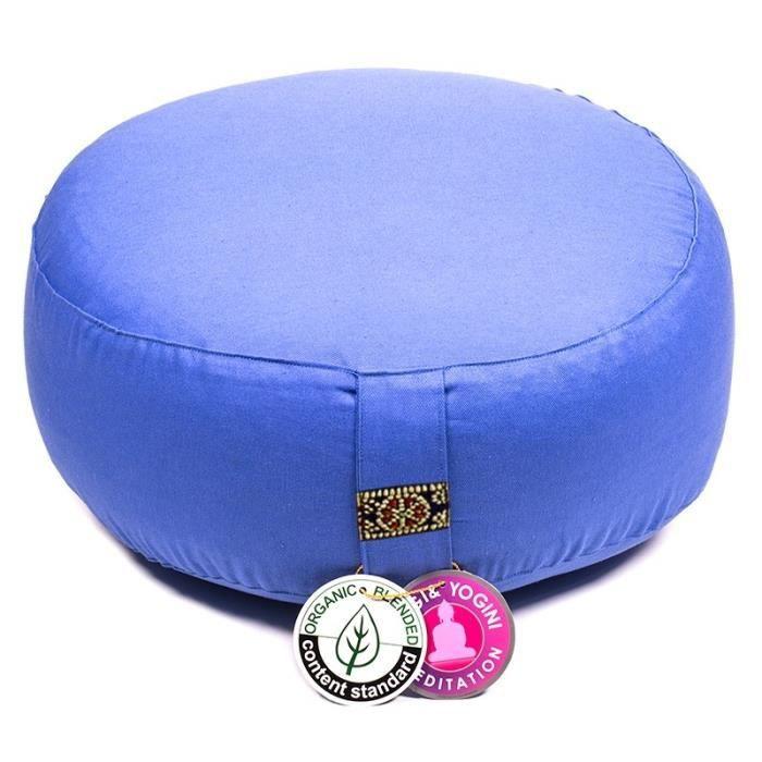 zafu en coton bio Bleu