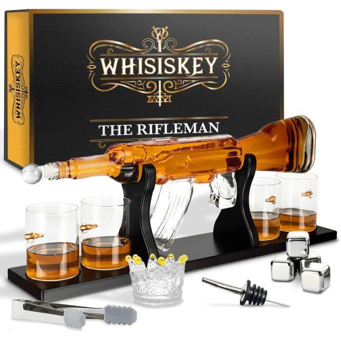 Whisiskey® Carafe Whisky - Pistolet - 1000 ml - 4 Verre à Whisky, 4 Pierre à Whisky et Bec Verseur - Cadeau homme - Carafe decanter