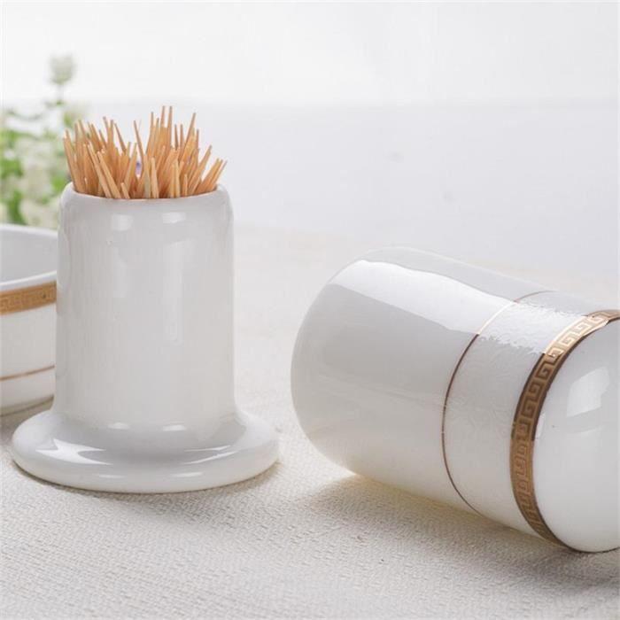 Ustensile de cuisine,Boîte de cure dents en porcelaine, boîte en céramique de qualité porte crochets, tube de cure dents