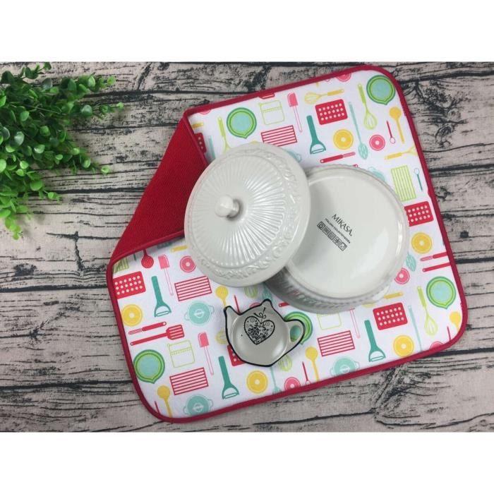 Set de table,Mutiuse tapis de séchage vaisselle éponge en microfibre 41x46cm, ustensiles de cuisine, isolation - Type 19-41x46cm