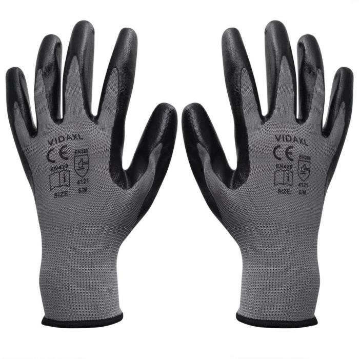 YUYJP Gants de sécurité Gants de travail Nitrile 24 paires Gris et noir Taille 10/XL