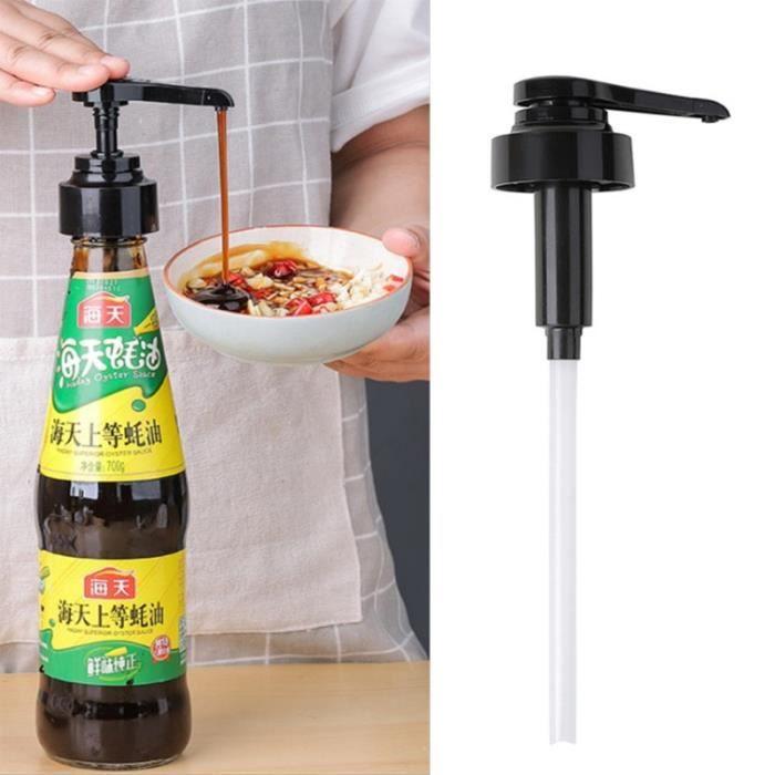 Lot Ustensiles,Pulvérisateur d'huile à pression Bouteille de sirop, buse de Sauce d'huître domestique pompe en plastique, outils de