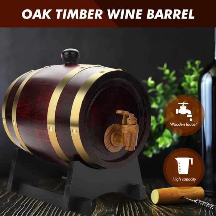 Tonneau à vin Tonneau à whisky Tonneau en bois Premium 1,5L Distributeur de tonneaux en chêne avec robinet et bouchon