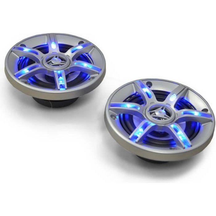 auna CS-LED4 -Haut-Parleurs de voiture coaxiaux 3 voies (10cm 4 pouces, 90 Décibels, câbles inclus) - Eclairage bleu LED