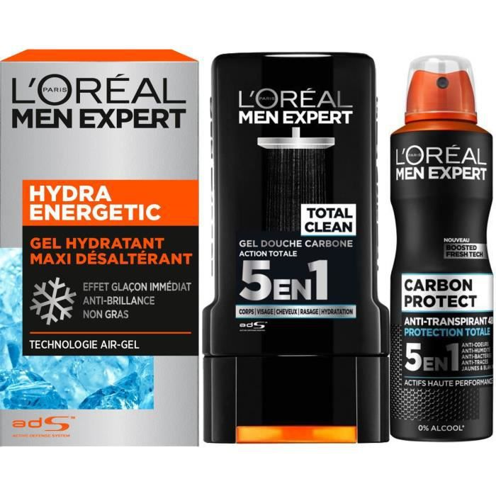 L'ORÉAL PARIS Men Expert - Lot Gel douche 300 ml + Déodorant spray 50 ml + Soin hydratant 50 ml