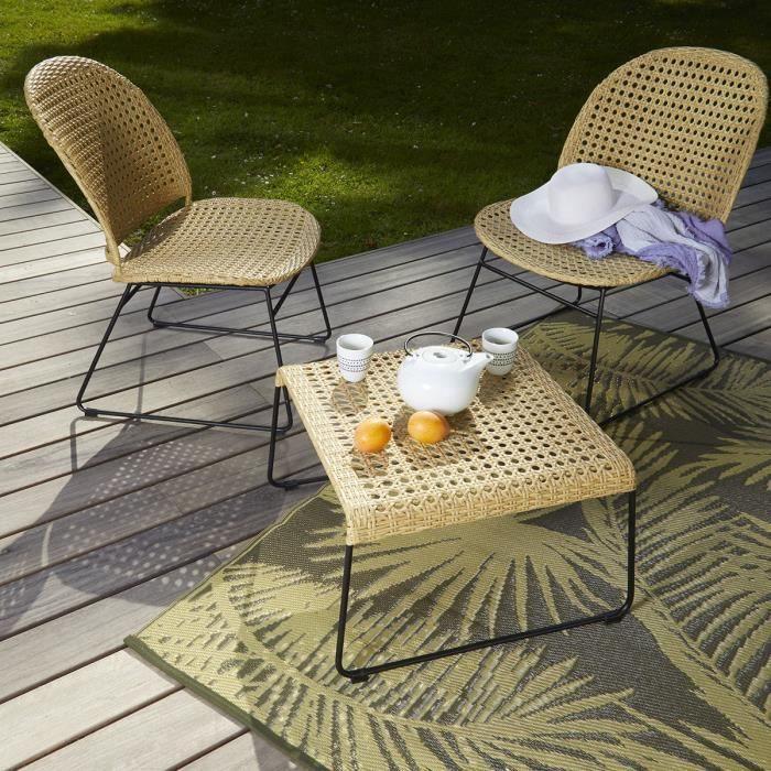 Salon 2 fauteuils + table basse en rotin synthétique et métal