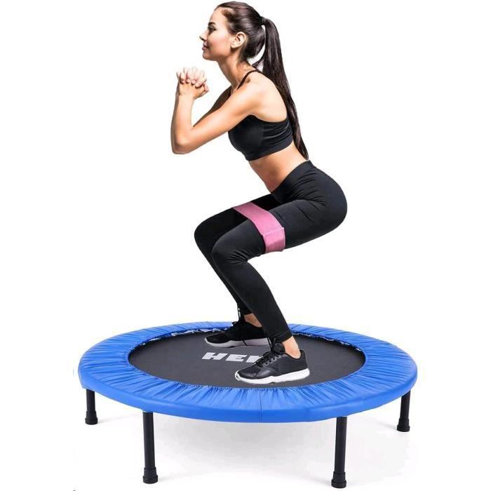 Trampolines de Fitness Pliable Rond Ø 96cm, Trampoline d'exercice Exterieur/Interieur pour Adulte et Enfant, Maximale 150kg, Bleu
