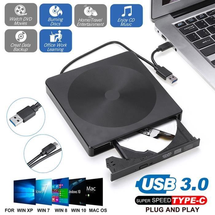 Lecteur CD DVD Externe USB 3.0 et Type C,Graveur de DVD CD Portable, Transmission de Données Rapide, Compatible