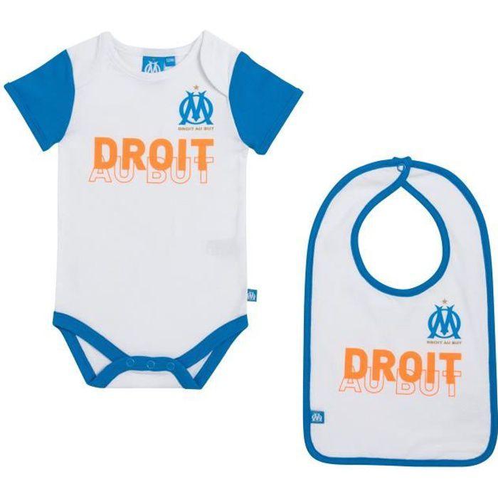 Body + bavoir OM bébé - Collection officielle OLYMPIQUE DE MARSEILLE - Taille garçon 3 mois