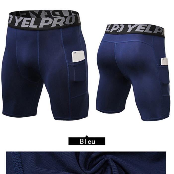 Hommes Poche Pantalons Court Sport Compression Élastique Leggings Short Slim Collant Cyclisme Fitness Séchage Rapide Bleu