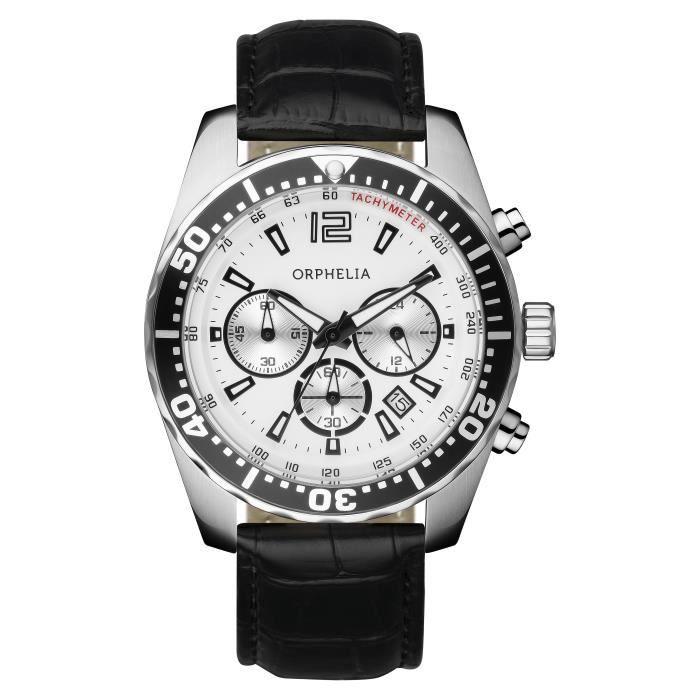 ORPHELIA - Montre Homme - Quartz Chronographe - Bracelet Cuir Noir - 153-6900-14