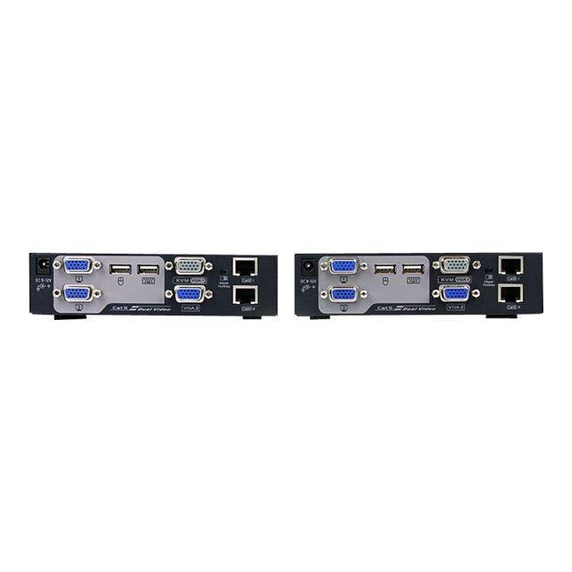 Startech.Com Switch Commutateur Kvm Usb Vga double 200 m 2 x câble Utp Cat 5 Transmetteur Kvm Extendeur de console Rallonge Kvm