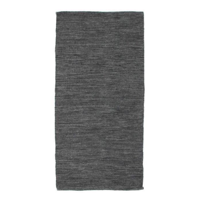 NATURE LAINE - Tapis en laine gris foncé 60x120
