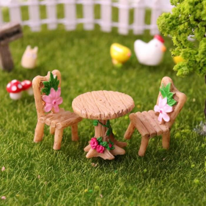 1 ensemble de chaise de table de tabouret de résine simulée décors de paysage miniatures ENSEMBLE TABLE CHAISE DE JARDIN