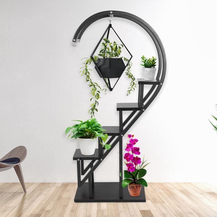 Support à fleurs présentoir à fleurs multicouche pour fleurs d\'intérieur  maison jardin(noir)---FAC