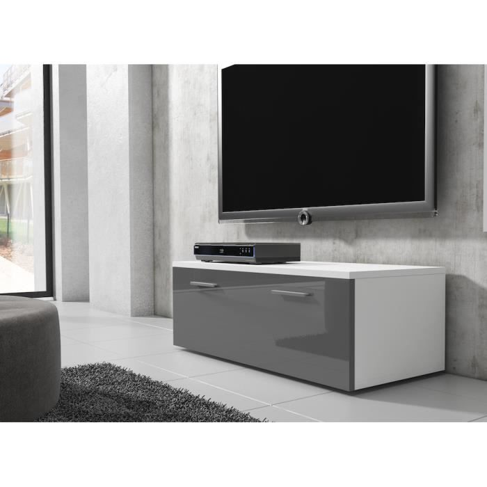 boston meuble tv contemporain d cor blanc et gris 100 cm achat vente meuble tv boston. Black Bedroom Furniture Sets. Home Design Ideas