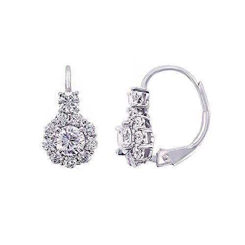 Jewel Panda Platinum-plaqué en argent sterling Simulations Diamants Fleur Leverback Boucles doreilles