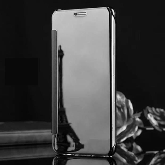 Clapet tui iphone 6 6s noir motif placage translucide for Miroir intelligent