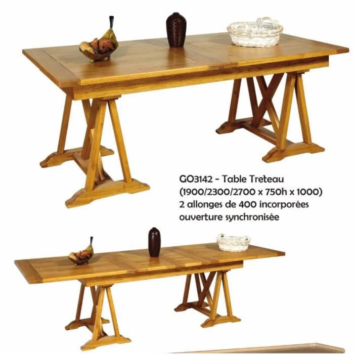 Table tr teaux en ch ne massif avec allonges destockage for Table salle a manger chene massif design